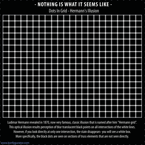 Optical Illusions 3D - Dots In Grid - Hermann's Illusion