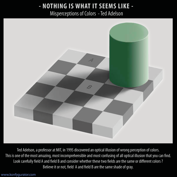 Optical Illusions drawing - Ted Adelson, a professor at MIT, in 1995 discovered an optical illusion of wrong perception of colors. This is one of the most amazing, most incomprehensible and most confusing of all optical illusion that you can find.